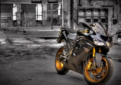 Black Kawasaki ZX6R Sports Bike