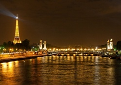 Paris Eiffel Tower Night Lights View