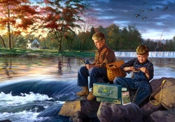 Charles Freitag Fishing Friends Painting Artwork