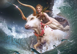 Mystical Girl Is Riding A Bull