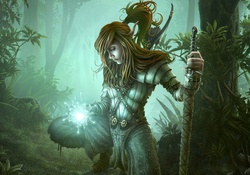 Armored Woman Doing Spell In The Wood