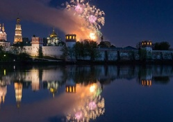 fireworks over moscow monastery