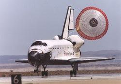 Space Shuttle Landing with Parachute