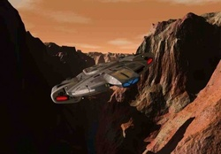 USS Defiant flying though canyon