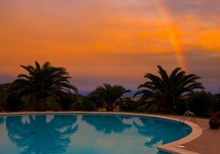 Rainbow and Sunset over Pool