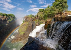 Rainbow over Zambezi River and Victoria Falls