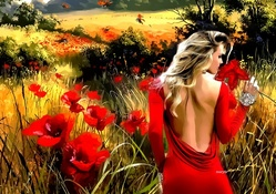 blonde girl among poppies