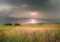 lightning storm over fields
