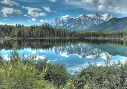 mountain reflection in a beautiful lake hdr