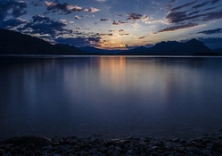twilight over lake maggiore in italy