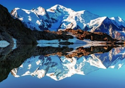 beautiful reflection of mont blanc in the alps