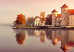 mansions on a german lake in autumn