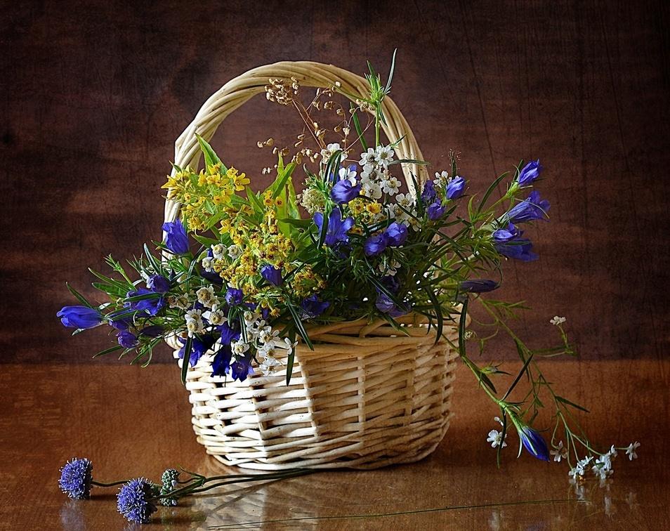 Корзина с полевыми цветами фото