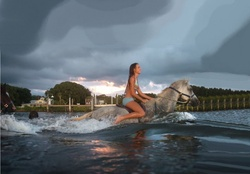 Cowgirl And Horse Swimming