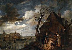 Aert van der Neer _ Dutch Channel Landscape with Skaters and Fire