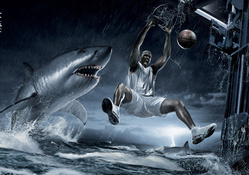 Shaq Dunks On Shark