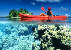 Kayaking in Calm Clear Water Kennedy Island Solomon Islands
