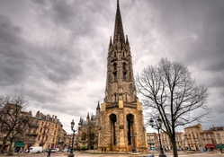 panorama of a church on a paris street