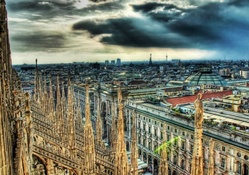 gorgeous cityscape from the roof of a cathedral hdr