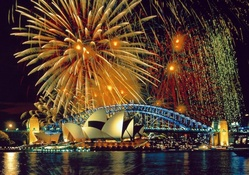 Fireworks over the Sydney Opera House and Sydney Harbour Bridge