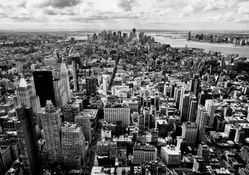 panorama of nyc in black and white