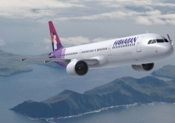 Hawaiian Airlines in flight to Seattle