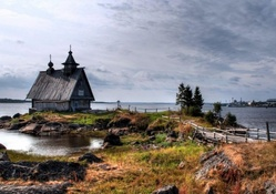 little chapel on a point in the harbor
