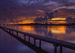 wonderful dock in the bay at dusk