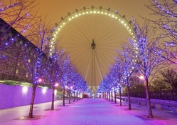 london eye and purple christmas lights