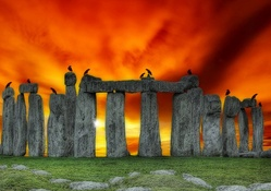 Stonehenge under Fiery Sky