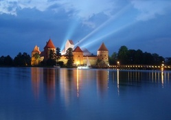 lights from trakai castle in lithuania