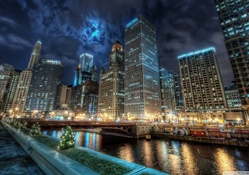 downtown chicago at night hdr