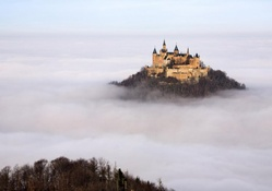 hohenzollern castle germany in the mist