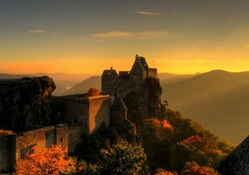 sunrise on ancient austrian castle