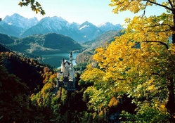 cute castle in the mountains of colors