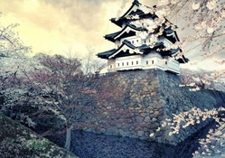 ancient japanese castle in spring