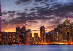 wonderful toronto cityscape at sunset