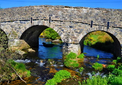 Stone bridge over blue river