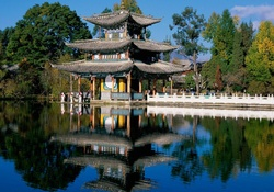 Chinese palace reflection in lake