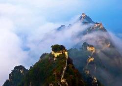 the great wall under clouds