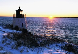 glorious lighthouse sunset in winter