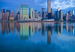 new york reflected in water