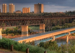 set of bridges in edmonton canada hdr