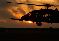 Blackhawk Helicopter at Sunset