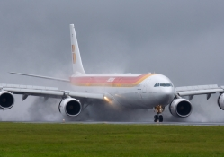 Airbus  A340, very wet landing