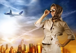 woman and plane