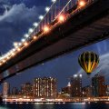 Hot Air Balloon Behind Bridge