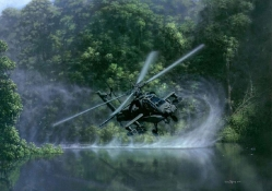 Helicopter over a Lake