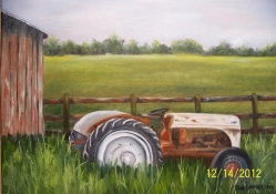 Old Ford Tractor in a painting