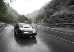 Saturn S_series in a Rainy Canyon _ B&W